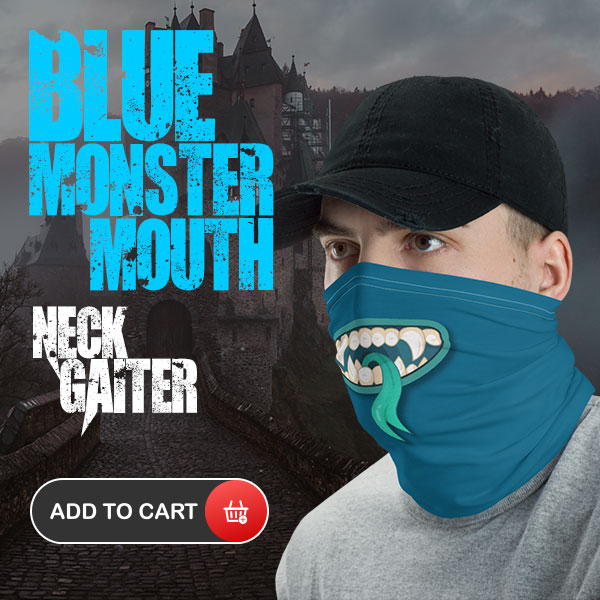 Monster Mouth Blue Neck Gaiter Face mask