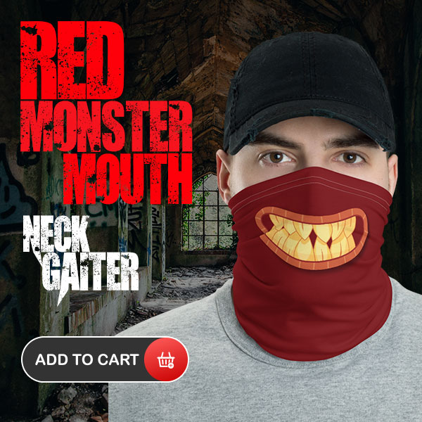 Monster Mouth REd Neck Gaiter Face MAsk